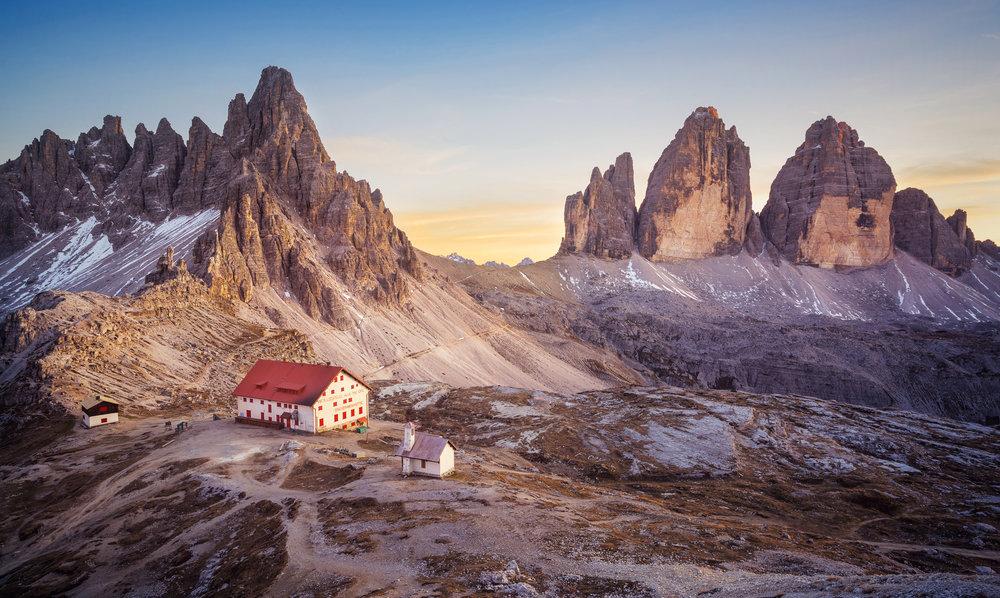 Rifugio Locatelli with the glorious Tre Cime di Lavaredo in the background.