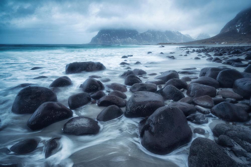 Uttakleiv Beach on a stormy day.