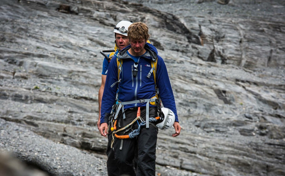 Sight guide Mark McGowan (front) and John Churcher (back) on the Eiger.