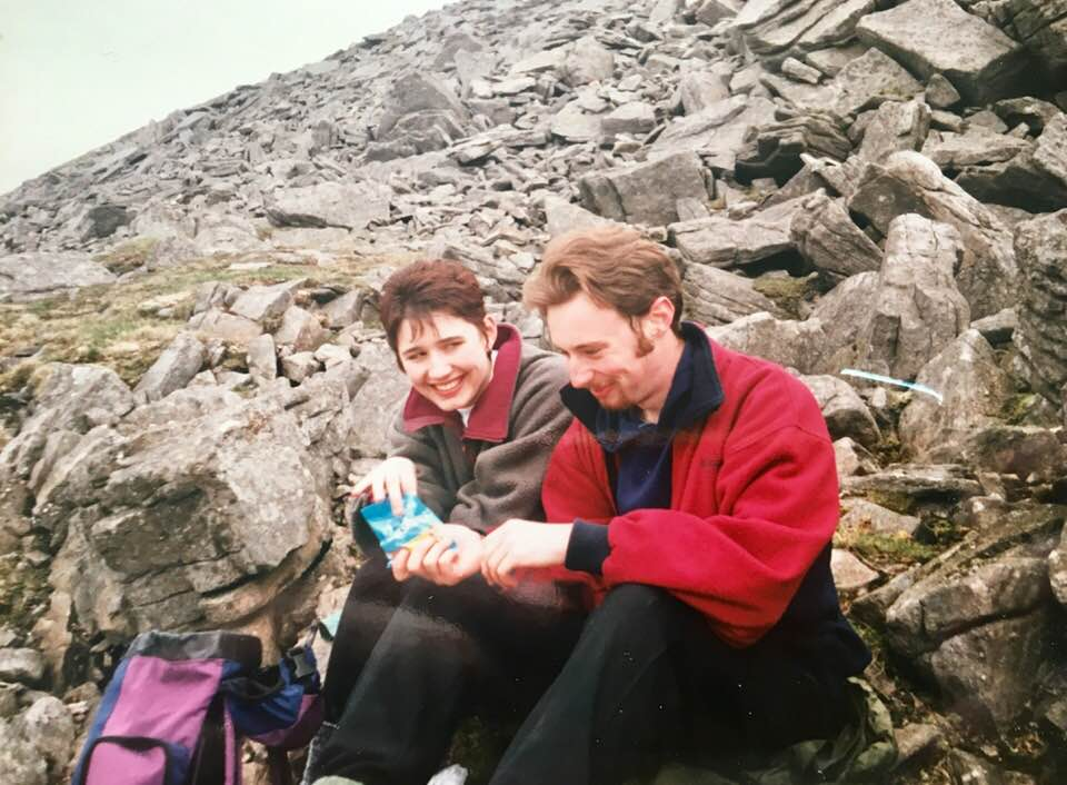 """Dawn Adcock – """"Lee and I sharing a packet of crisps to celebrate me say yes to him asking me to marry him. Ingleborough 1997"""""""