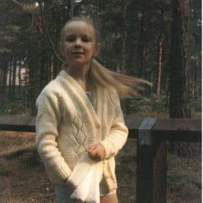 """Zoë Furnivall – """"Me walking at Formby pinewoods & red squirrel reserve, one of my absolute favourite places as a kid. Think this was about 1986/7."""""""
