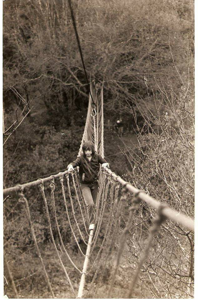 """Elaine Green – """"Walking a rope bridge in 1981 near Tywyn Gwynedd."""""""