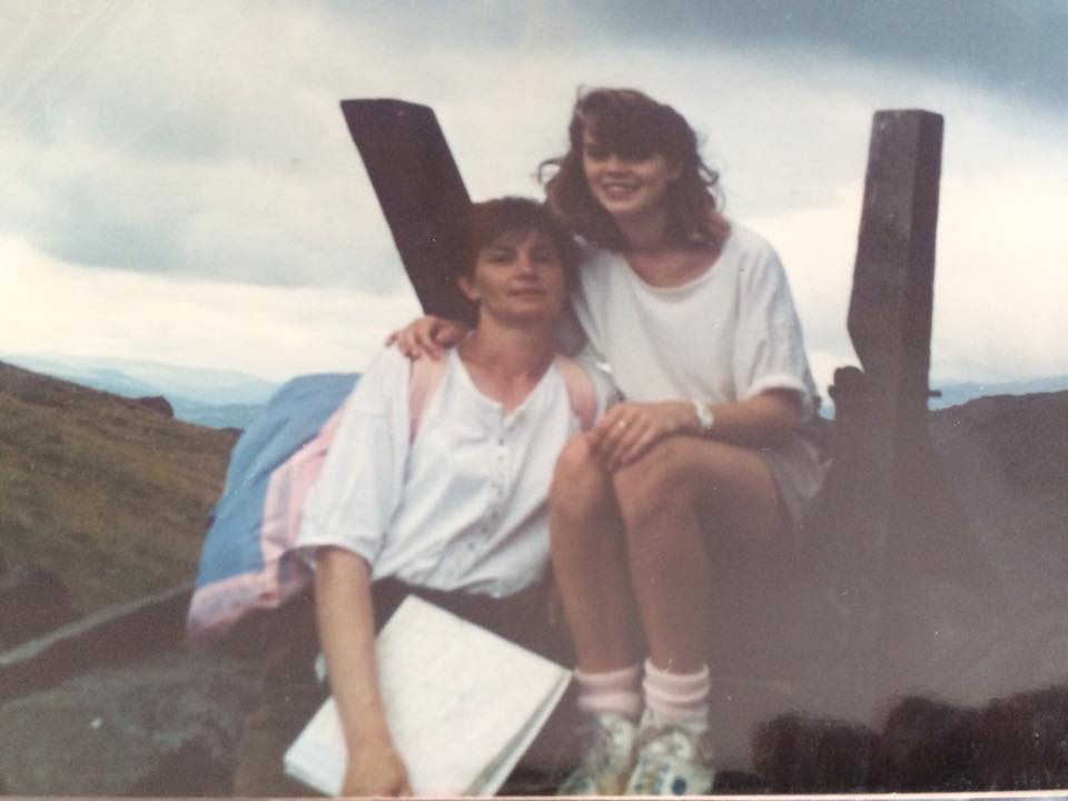 """Claire Caulfield – """"Me & my beautiful mum somewhere between Grasmere and Ambleside late 1980s."""""""
