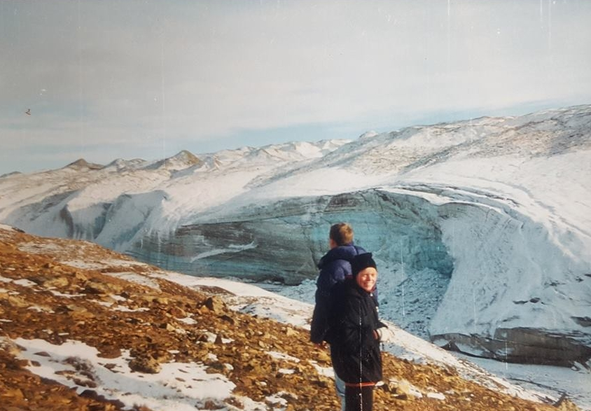 """Sara Bruun: """"Here I am with my brother - in Greenland! must've been very close to the Thule Air Base, as we were visiting our dad up there. I'd have appreciated it more now than at the time!"""""""