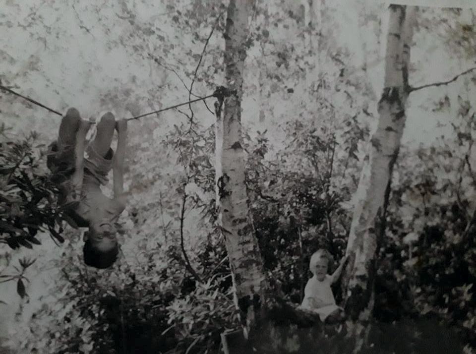 Jan Barker and brother as Tarzan.