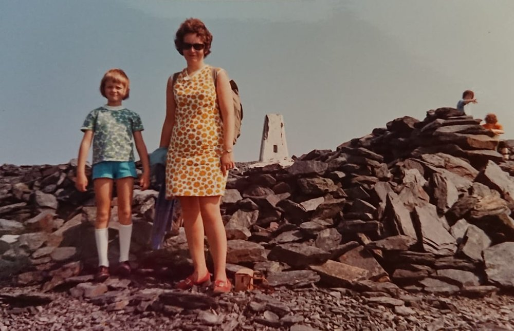 """Judith Chestnutt – """"This is me and my mum at the top of Skiddaw in 1973! This was my first hill walk, I was 7 and I loved it."""""""