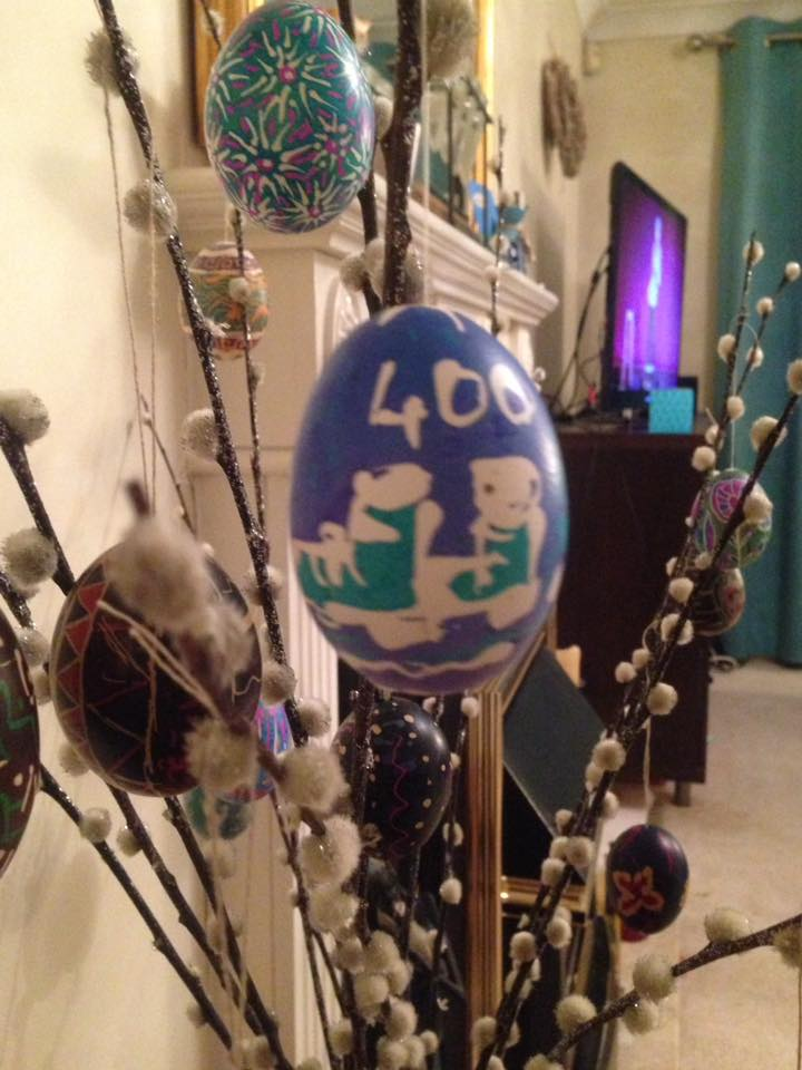 Michelle Martin I decorated this egg Lithuanian style with boots to celebrate reaching 400 miles at Easter..jpg