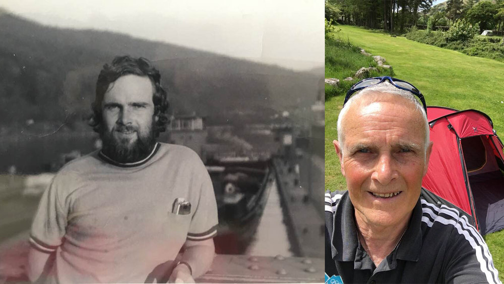 Brian Stalker: camping in Heidelberg in 1972 (who is that wild grizzly looking fat guy?) And today in Eskdale.