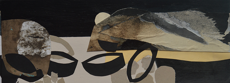 Boats at Porlock I - Collage and acrylic on board