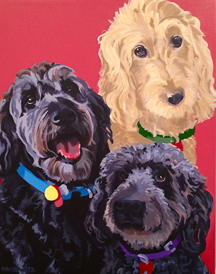 """Ethel, Zeke and Violet"", acrylic on canvas, 16"" x 20"""
