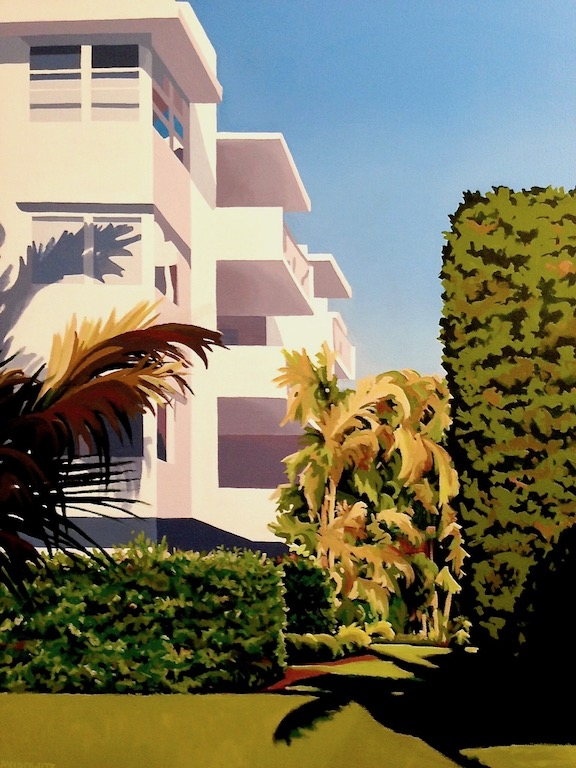 """Palm Beach Modern"" celebrates the Tropical Art Deco style of architecture. 24"" x 30"" x 1"" with painted wrap-around edges, 2017."