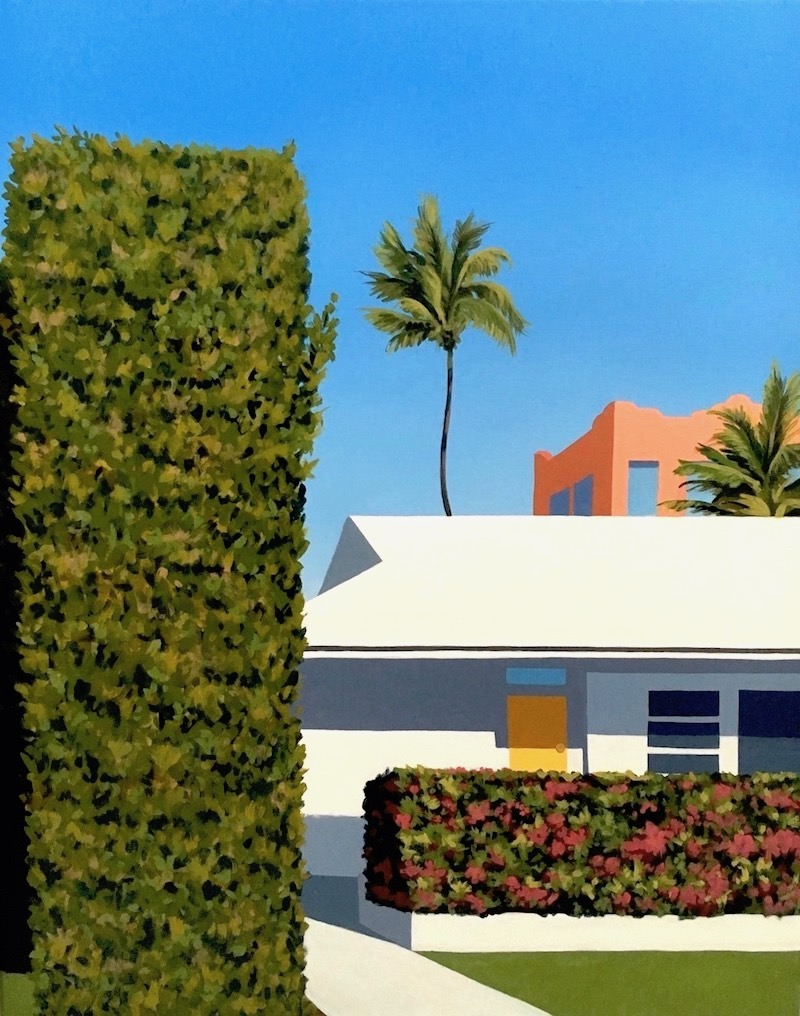 """Little Palm"" shows retro style architecture in West Palm Beach, FL. 24"" x 30"" x 1"", acrylic on canvas with painted wrap-around edges, 2017."