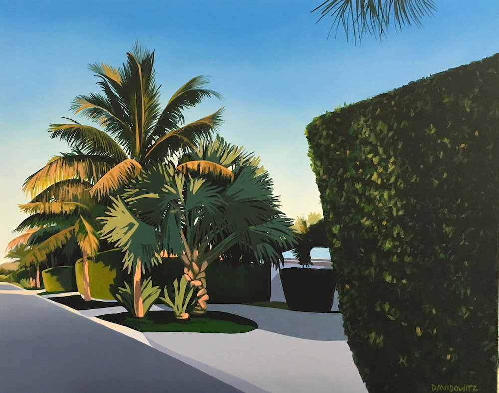 """Afternoon Glow"" is one of Nina's first Florida paintings. Acrylic on canvas with wrap-around edges, 30"" x 24"", 2017."