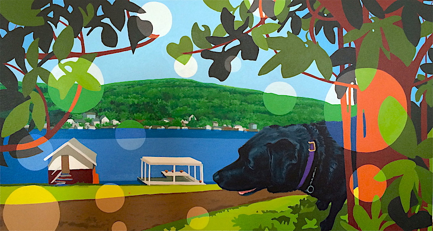 "This fun painting combines the client's dog, a Black Lab, with a favorite view from his vacation home. We kept the colors fun and bright, and the floating ""bubbles"" add a touch of whimsy. Nina is an expert at blending your favorite photos into one coherent scene."