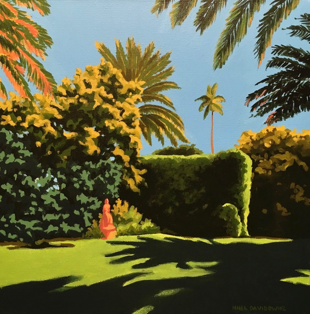 Clients in Palm Beach, FL just love their tropical garden and were excited to commission this painting to use as a focal point in their living room. The painting not only providedd a pop of green in the space, it also brings their outdoor view inside.