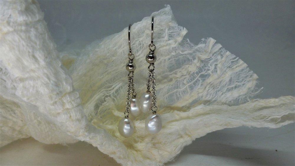 Ohrhänger Silber/rhod. mit Süsswasserperlen