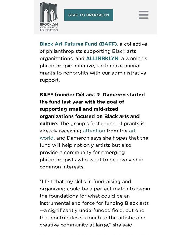 Brooklyn Community Foundation profiles BAFF and our founder, DéLana Dameron. We're very excited about our work and hope you'll share in our excitement toward truly sustainable black futures! Link temporarily in bio. ☺️