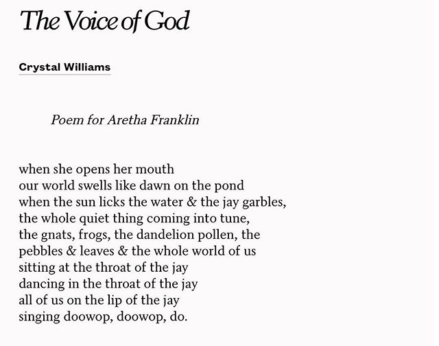 """The Voice of God,"" a poem for Aretha Franklin, by Crystal Williams. 