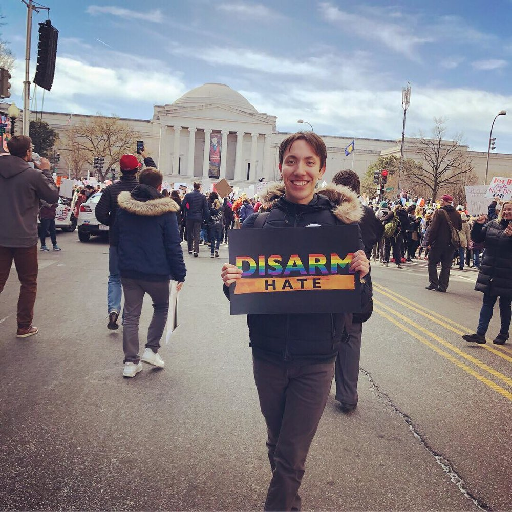 Nathan Shearn at the March of Our Lives protest in D.C.