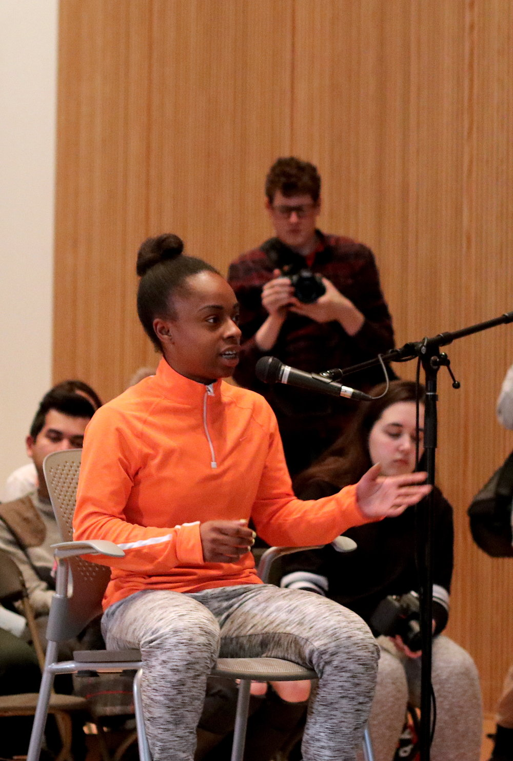 A student asks one of the panels a question. Photo by Saniya More.