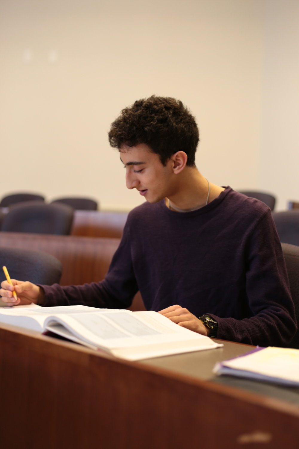 Bailey studies for a weekly tax quiz in a classroom at the Whitman School of Management building on Wednesday. Photo by  Jiaman (Maggie) Peng .