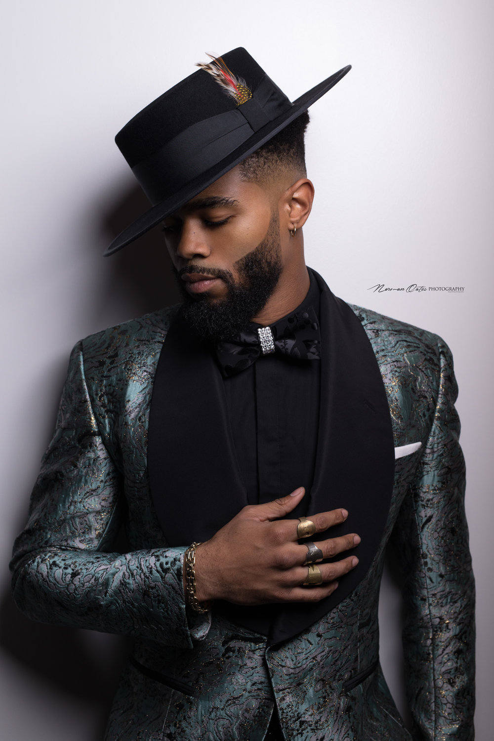 "Model wearing the ""Wayne"" bow tie by D. Leak Bow-Ties. Photo: Norman Oates Photography"