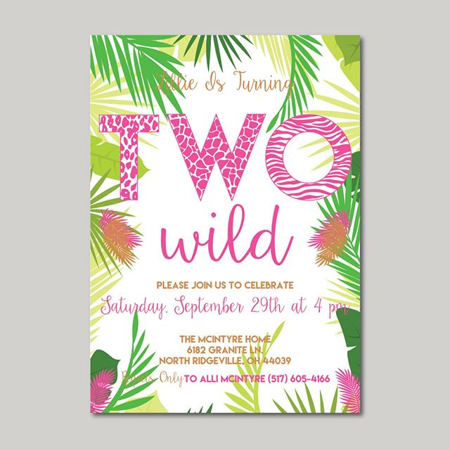 "It's wild Wednesday!!! Okay this pregger isn't getting too wild these days, but how fun are these ""two wild"" invites I created for my nieces second birthday?  And let me tell you, I love my Lillie, but these are fitting!  #twowild #terribletwos #toddlerlife #birthdayparty #birthdayinvite #birthdayinvitations #invitations #graphicdesign #lovewhatyoudo #dowhatyoulove #custom #contrast #keepitcustom #ebdesignstudio #chelsea #dexter #chelseami #puremichigan #smallbiz #mycreativebiz #makersgonnamake #creativelifehappylife #handsandhustle #buildyourbrand"