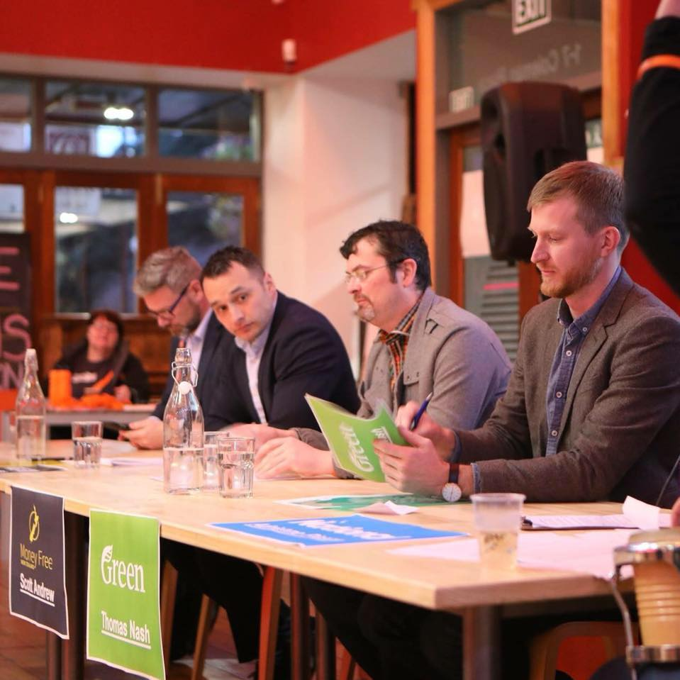 Scott Andrew at a Palmerston North candidate debate during the 2017 NZ General Election.