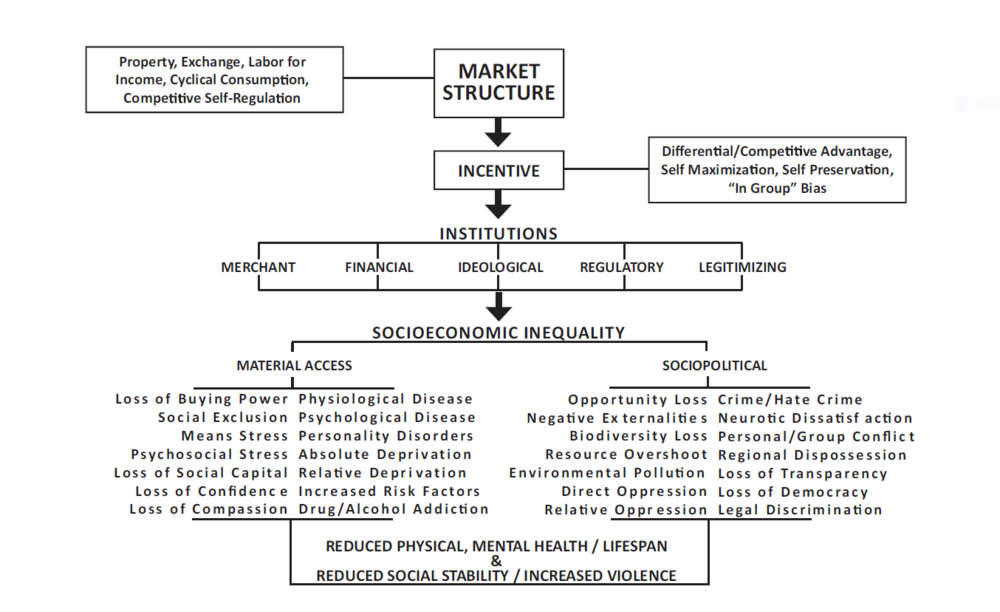 FIGURE 2:  The market structure produces behavioral incentives that are codified in both formal and conceptual social institutions that enforce and preserve the market structure. This leads to a host of socioeconomic inequalities, which, in turn, produce numerous negative public health outcomes. The figure is for from definitive and there is some contextual overlap between the listed examples.