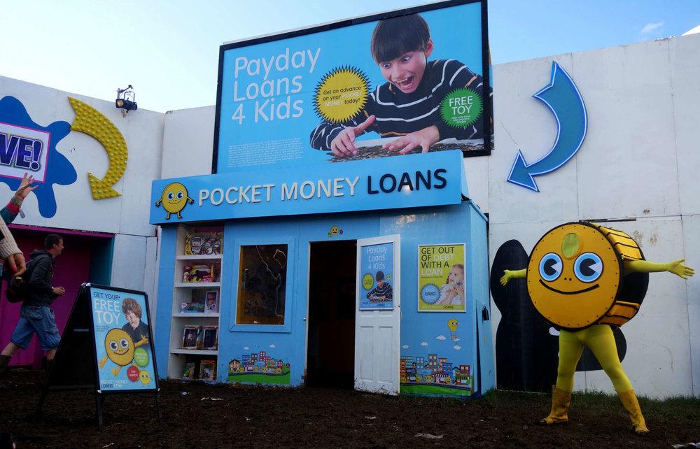 Pocket Money Loans pop-up at Glastonbury, originally at Dismaland.