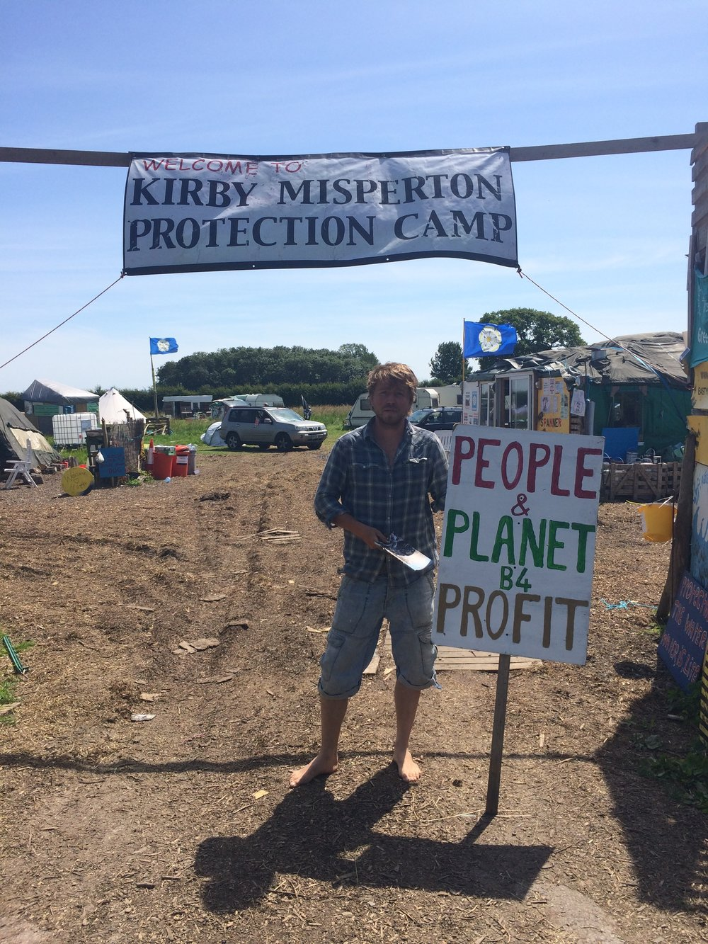 Eddie Thornton outside Kirby Misperton Protection Camp in July 2017. Photo Luisa Le Voguer