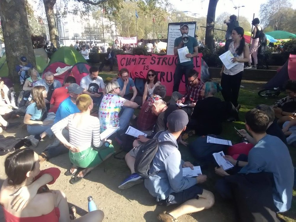 GAF activists hold talks during XR's Rebellion Week in Marble Arch, April 2019. Photo courtesy of Facebook.