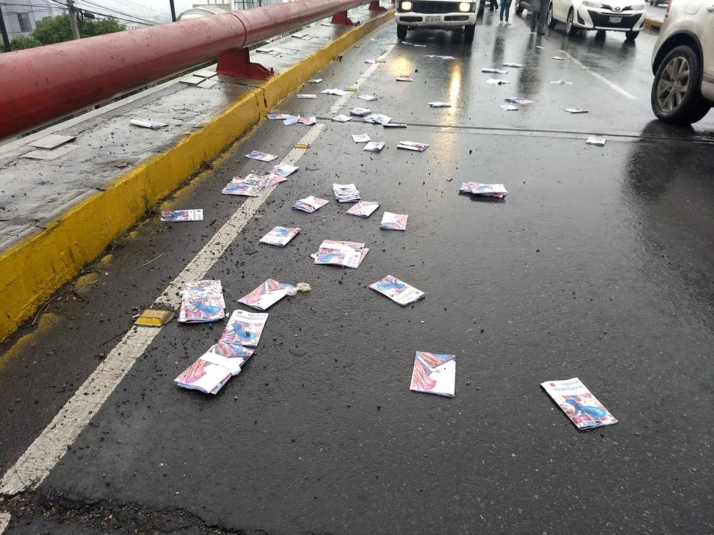Books in the road