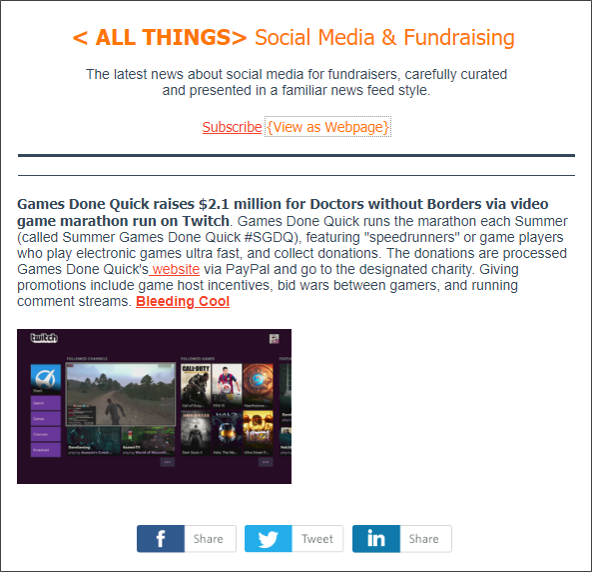 Monday, July 2 2018 Edition. This is just 1 of 8 curated articles included in today's <ALL THINGS> Social Media + Fundraising.. It's THE news source for nonprofit social media professionals.