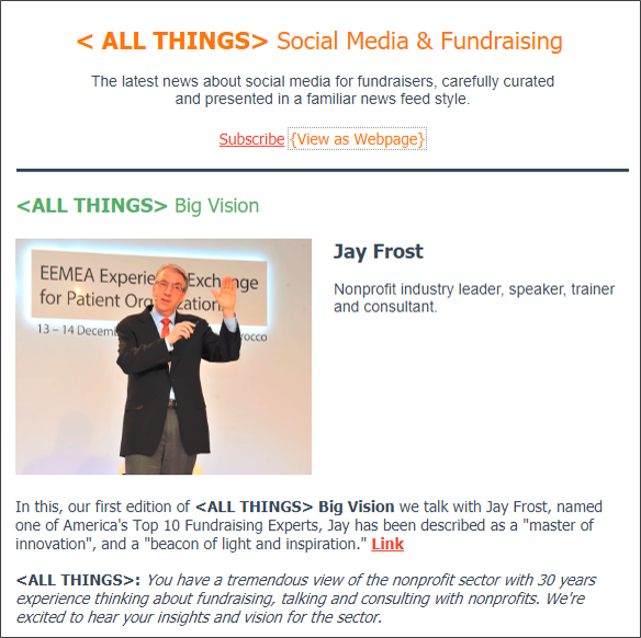 Monday, July 2 2018 Edition. This is just 1 of 8 curated articles included in today's <ALL THINGS> Social Media + Fundraising.. It's THE news source for nonprofit social media professionals    Click here to view the full interview.