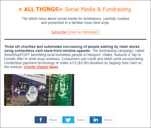 Friday, July 8 2018 Edition. UK charities test automated street canvassing, Data for Good projects on the rise, social  media micro-influencer campaign best practices, Facebook disclose fact-checking and hate-speech verification process.