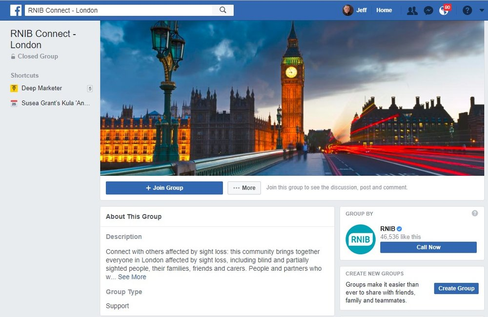 RNIB hosts P2P Facebook Support Groups