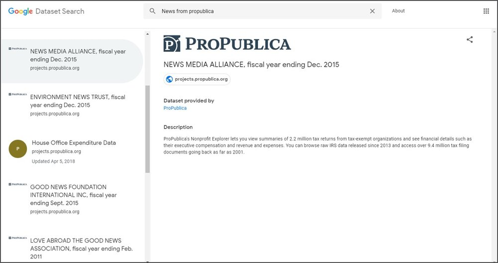 ProPublica's public data set now available via the new Google Dataset Search.