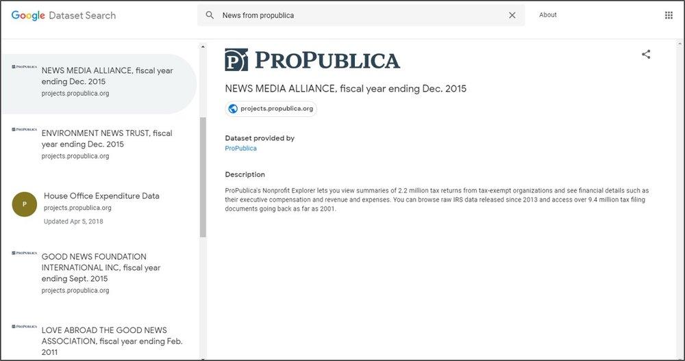 ProPublica's public data set now available via the new Google Dataset Search.