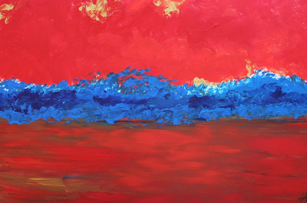 "Blue Line #3 (Red Sea) :: 48""x24"""