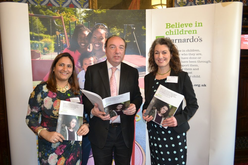 Barnardos-CSE-Inquiry-Launch-Sarah-Champion-4-with-Puja-Darbari-Norman-Baker-and-reportscrop.jpg