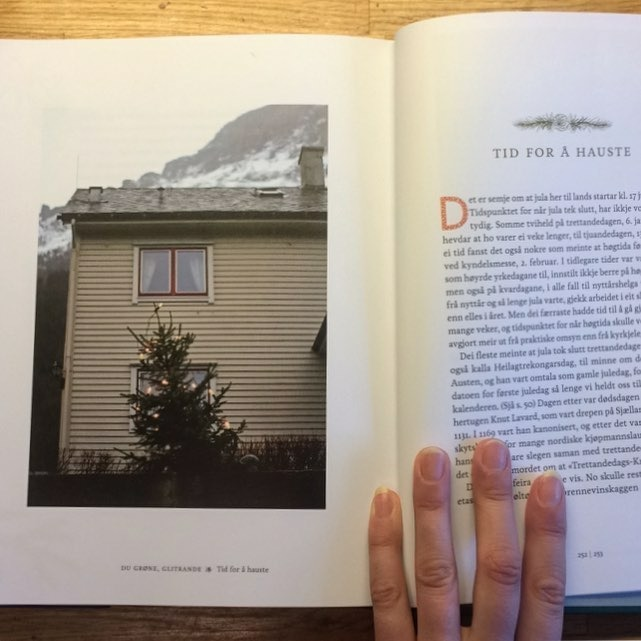 5 images in book by Oddgeir Bruaset about Norwegian christmas trees.