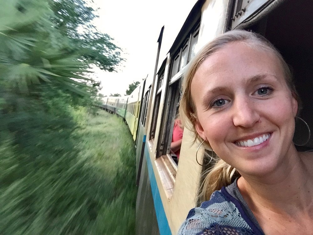In my happy place...on a bumpy train in Myanmar.