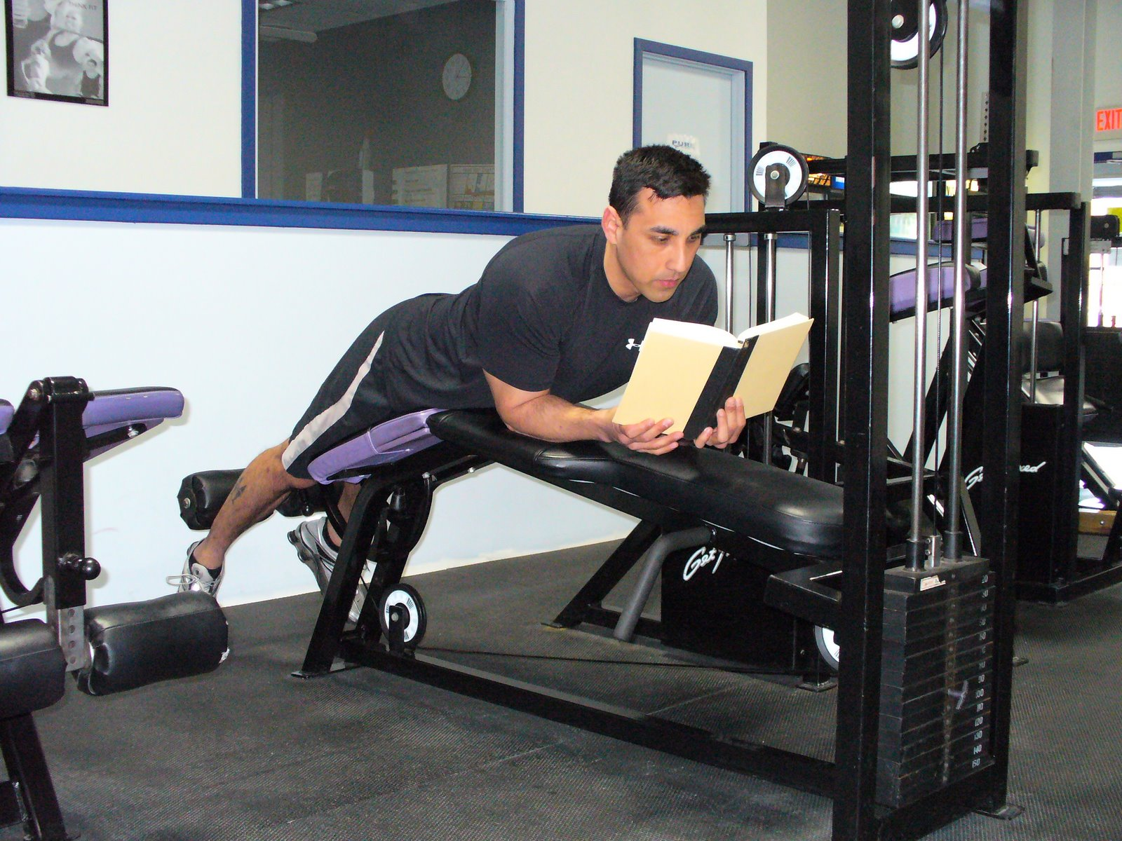 reading on gym equipment