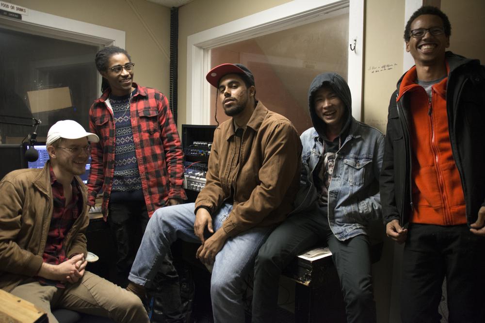 In WSRN. from left: Gabriel Meyer-Lee '19, Azikiwea Green '18, Tiyé Pulley '19, Joe Woo '19, Thomas Poley '18