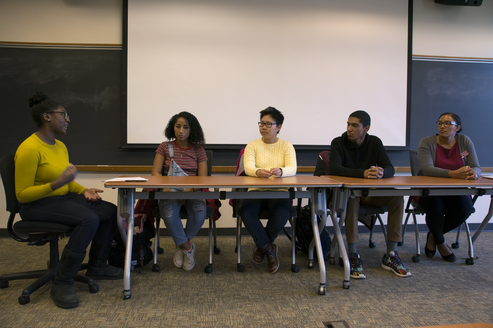 from left: Clarissa Phillips '19, Shayla Smith '20, Cooper Kidd, Ray Sheldon '18, and Professor Kathryn Riley
