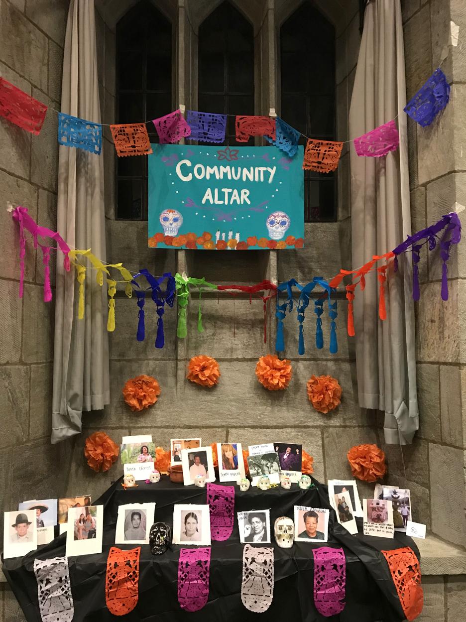 The community altar for Día de los Muertos