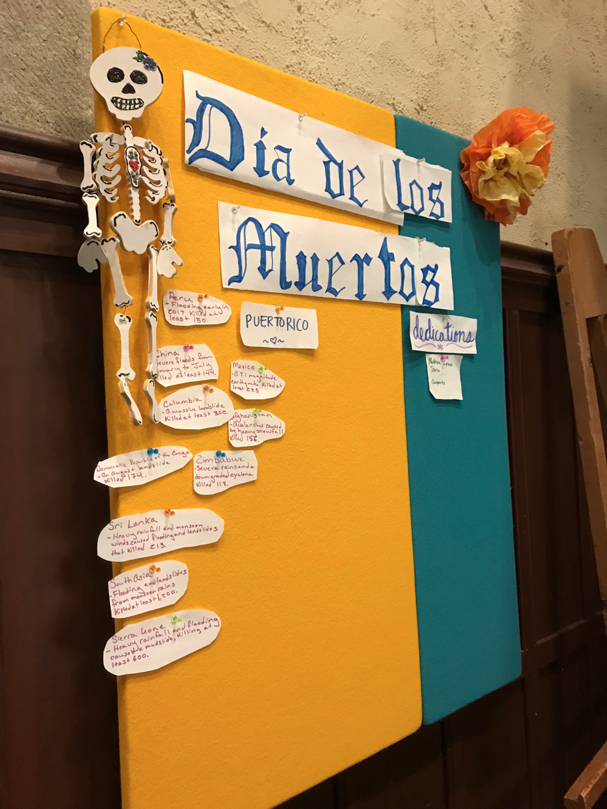 A Día de los Muertos Board dedicated to those affected by natural disasters