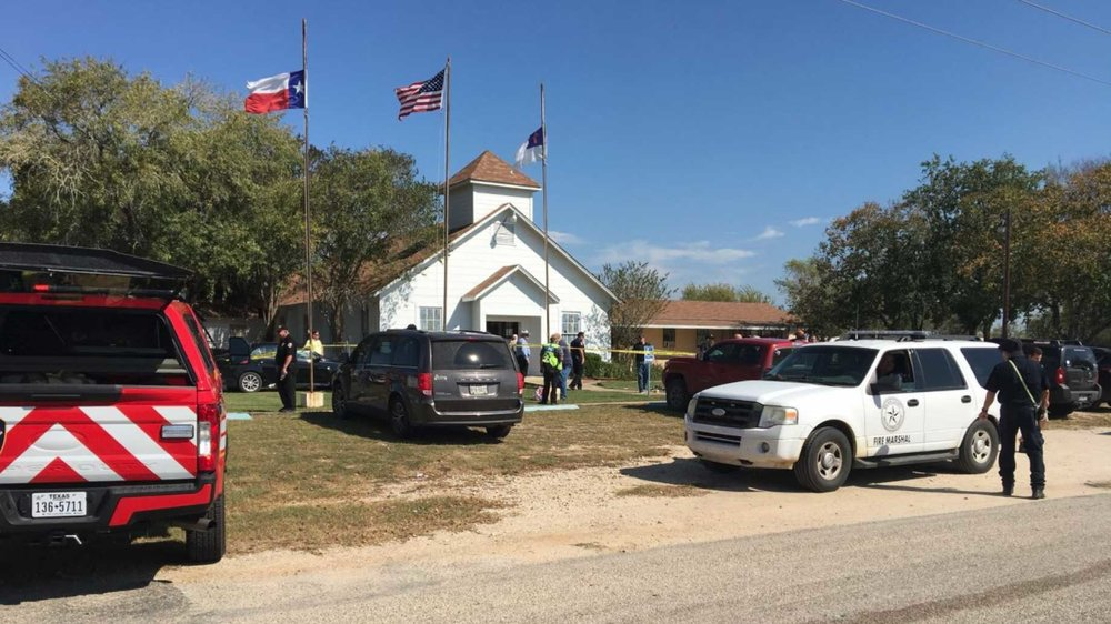 Outside of First Baptist Church in Suherland Springs, Texas.