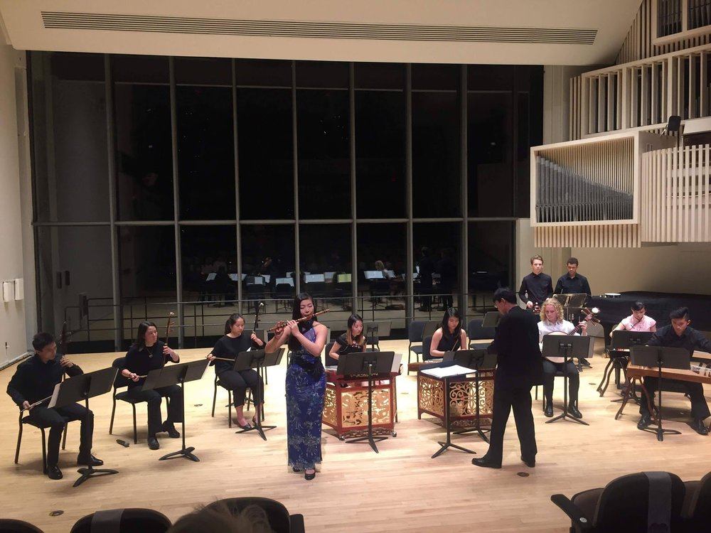 Hung plays the dizi in Lang Concert Hall (photo courtesy of Lesia Liao '18)